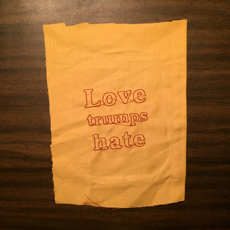 Love trumps hate embroidery